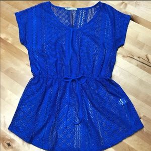 NWT Maurice's Blue Lace Blouse Size Medium!